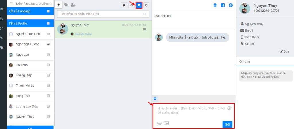 quản lý comment inbox