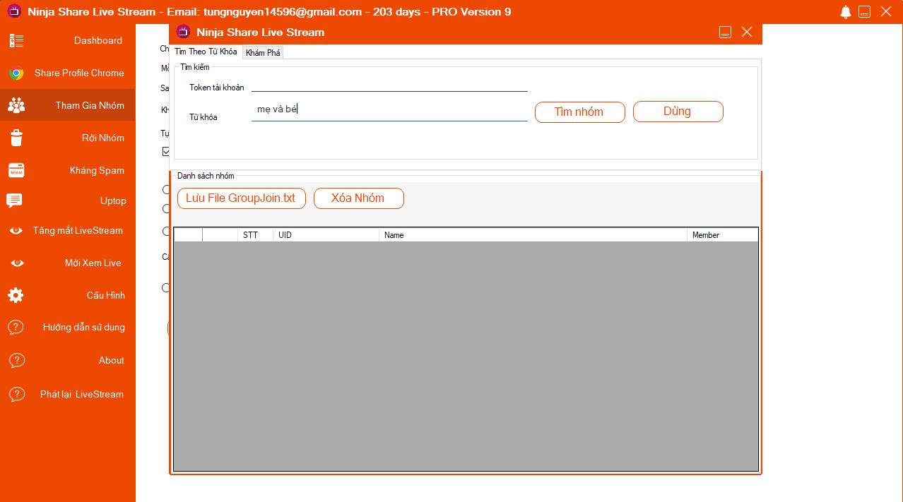 Phần mềm chia sẻ Livestream tự động cho phép bạn tìm kiếm và tham gia nhóm theo target