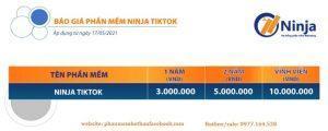 Bảng báo giá phần mềm Ninja Tiktok