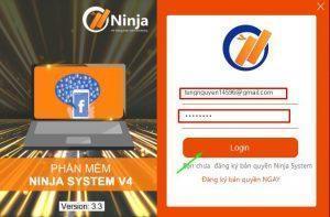 Đăng nhập phần mềm Ninja System